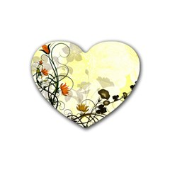 Wonderful Flowers With Leaves On Soft Background Rubber Coaster (Heart)