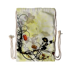Wonderful Flowers With Leaves On Soft Background Drawstring Bag (small)