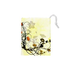 Wonderful Flowers With Leaves On Soft Background Drawstring Pouches (xs)