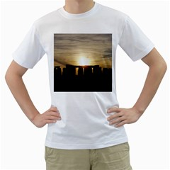 Sunset Stonehenge Men s T Shirt (white) (two Sided)