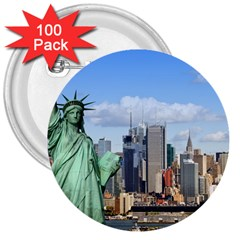 Ny Liberty 1 3  Buttons (100 Pack)