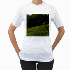 Three Crosses On A Hill Women s T Shirt (white) (two Sided)