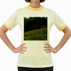 Three Crosses On A Hill Women s Fitted Ringer T Shirts