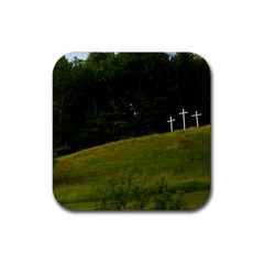 Three Crosses On A Hill Rubber Square Coaster (4 Pack)