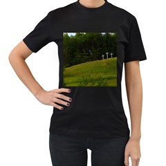 Three Crosses On A Hill Women s T Shirt (black) (two Sided)