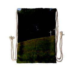 Three Crosses On A Hill Drawstring Bag (small)