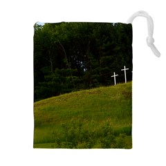 Three Crosses On A Hill Drawstring Pouches (extra Large)
