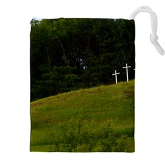 THREE CROSSES ON A HILL Drawstring Pouches (XXL)