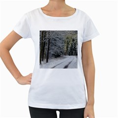 Snow On Road Women s Loose Fit T Shirt (white)