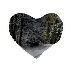 Snow On Road Standard 16  Premium Flano Heart Shape Cushions