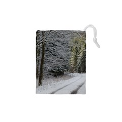 SNOW ON ROAD Drawstring Pouches (XS)
