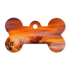 Orange Sunset Dog Tag Bone (one Side)
