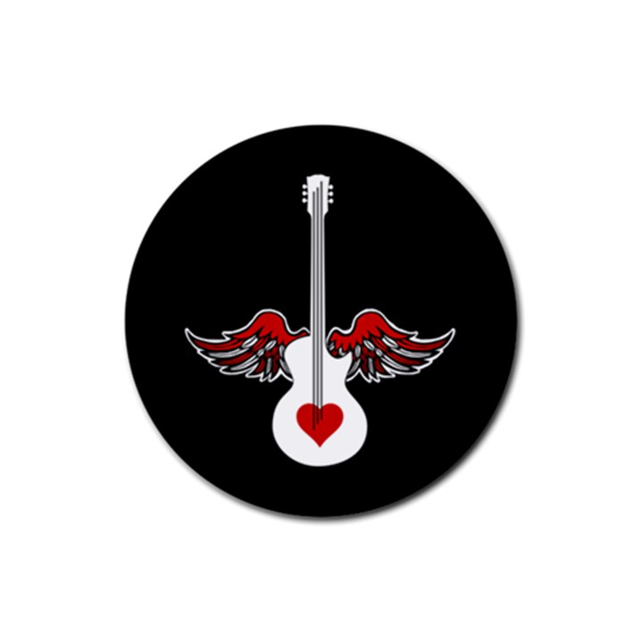 Flying Heart Guitar Rubber Round Coaster (4 pack)