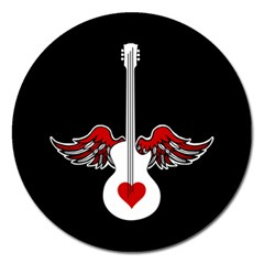 Flying Heart Guitar Magnet 5  (round)