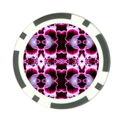 White Burgundy Flower Abstract Poker Chip Card Guards