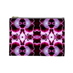 White Burgundy Flower Abstract Cosmetic Bag (large)