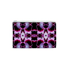 White Burgundy Flower Abstract Cosmetic Bag (xs)