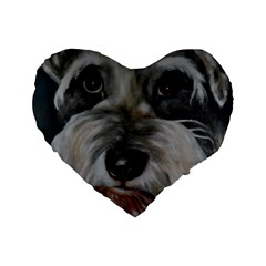 The Schnauzer Standard 16  Premium Flano Heart Shape Cushions