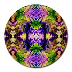Green,purple Yellow ,goa Pattern Round Mousepads