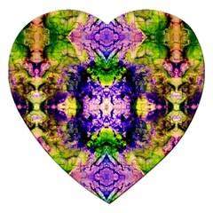 Green,purple Yellow ,goa Pattern Jigsaw Puzzle (heart)
