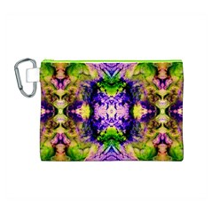 Green,purple Yellow ,goa Pattern Canvas Cosmetic Bag (M)