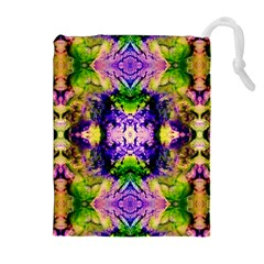 Green,purple Yellow ,goa Pattern Drawstring Pouches (Extra Large)