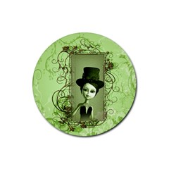 Cute Girl With Steampunk Hat And Floral Elements Rubber Coaster (Round)