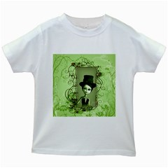 Cute Girl With Steampunk Hat And Floral Elements Kids White T-Shirts