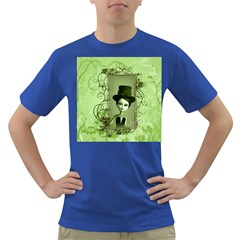 Cute Girl With Steampunk Hat And Floral Elements Dark T-Shirt