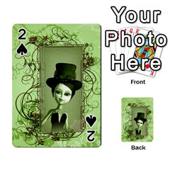 Cute Girl With Steampunk Hat And Floral Elements Playing Cards 54 Designs