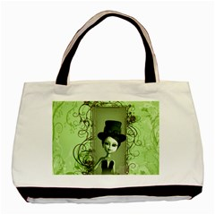 Cute Girl With Steampunk Hat And Floral Elements Basic Tote Bag