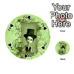 Cute Girl With Steampunk Hat And Floral Elements Playing Cards 54 (round)