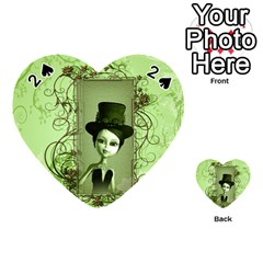 Cute Girl With Steampunk Hat And Floral Elements Playing Cards 54 (Heart)