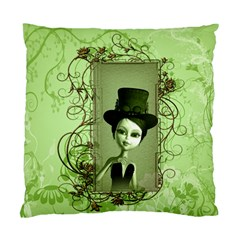 Cute Girl With Steampunk Hat And Floral Elements Standard Cushion Cases (Two Sides)