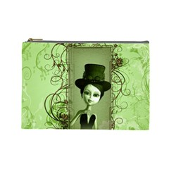 Cute Girl With Steampunk Hat And Floral Elements Cosmetic Bag (Large)