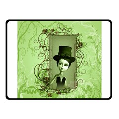 Cute Girl With Steampunk Hat And Floral Elements Fleece Blanket (small)