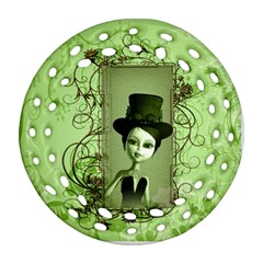 Cute Girl With Steampunk Hat And Floral Elements Ornament (Round Filigree)