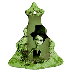 Cute Girl With Steampunk Hat And Floral Elements Christmas Tree Ornament (2 Sides)
