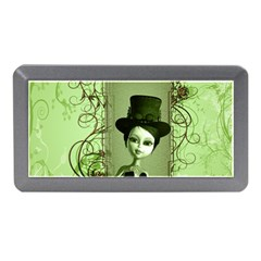 Cute Girl With Steampunk Hat And Floral Elements Memory Card Reader (Mini)