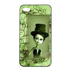 Cute Girl With Steampunk Hat And Floral Elements Apple iPhone 4/4s Seamless Case (Black)