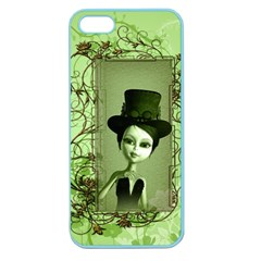 Cute Girl With Steampunk Hat And Floral Elements Apple Seamless iPhone 5 Case (Color)