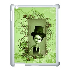 Cute Girl With Steampunk Hat And Floral Elements Apple iPad 3/4 Case (White)