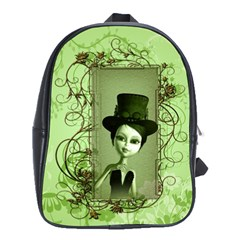 Cute Girl With Steampunk Hat And Floral Elements School Bags (XL)