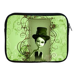 Cute Girl With Steampunk Hat And Floral Elements Apple iPad 2/3/4 Zipper Cases