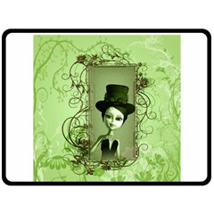 Cute Girl With Steampunk Hat And Floral Elements Double Sided Fleece Blanket (Large)