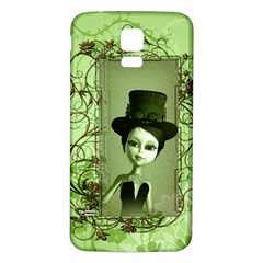 Cute Girl With Steampunk Hat And Floral Elements Samsung Galaxy S5 Back Case (White)