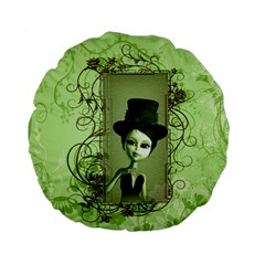 Cute Girl With Steampunk Hat And Floral Elements Standard 15  Premium Flano Round Cushions