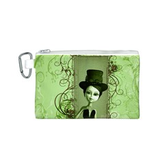 Cute Girl With Steampunk Hat And Floral Elements Canvas Cosmetic Bag (S)