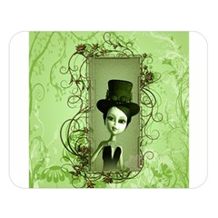 Cute Girl With Steampunk Hat And Floral Elements Double Sided Flano Blanket (large)