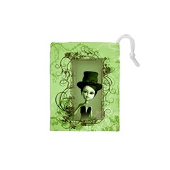 Cute Girl With Steampunk Hat And Floral Elements Drawstring Pouches (XS)